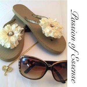 Passion of Essense Shoes - Cream Pearl  Flip Flops