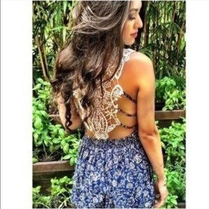 LF Blue Floral Lace Back Romper