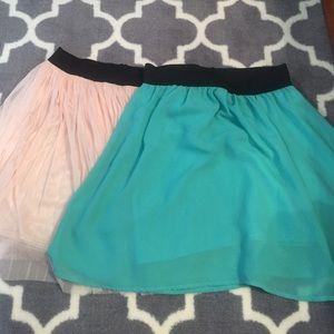 Two forever21 skater skirt length
