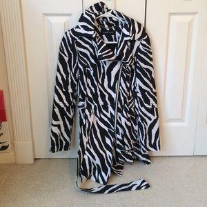 Black Rivet Jackets & Blazers - Zebra Raincoat