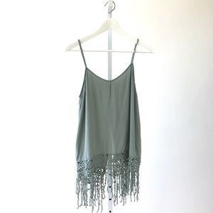 Tank With Crochet Fringe in Sage Green
