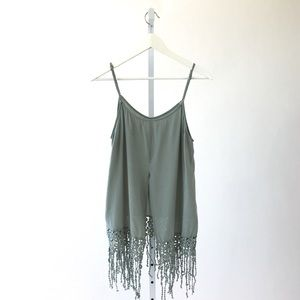 Tops - Tank With Crochet Fringe in Sage Green