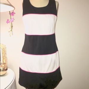 Black&White Stripe with Pink Trim Sleeveless Dress
