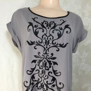 Body Central Tops - Gray blouse with black print. FINAL CLEARANCE
