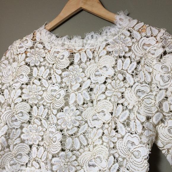 San Joy Tops White Gold Floral Lace Crochet Crop Top Poshmark