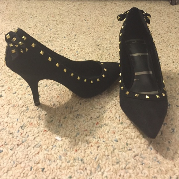 Black And Gold Studded Heels