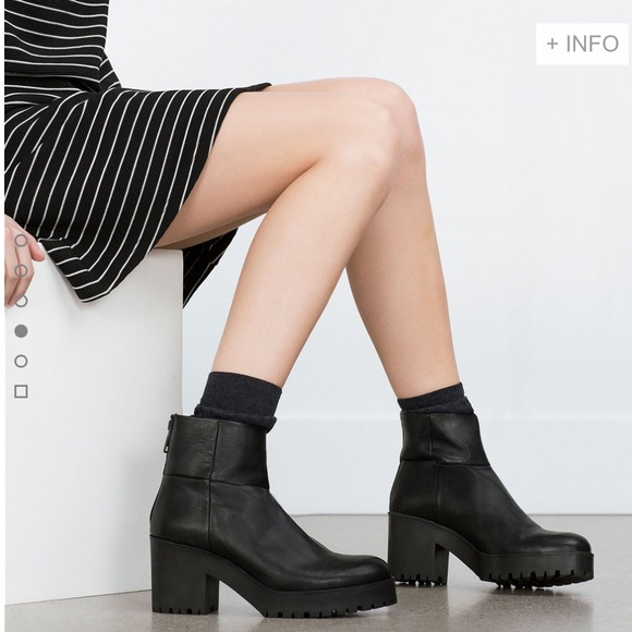 4f3ff71df68 Zara black leather boots with platform track sole