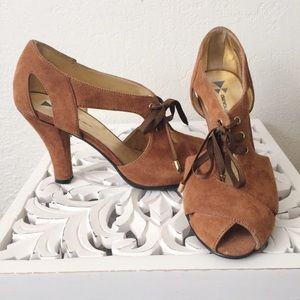 Anthropologie Shoes - Anthropologie Suede Peep-toe Lace-up Heels