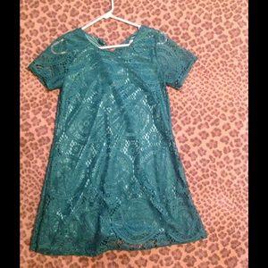 Kelly green lace dress