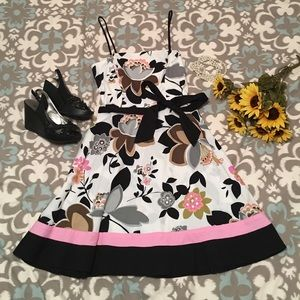 Black pink and white flower print dress w/ tie