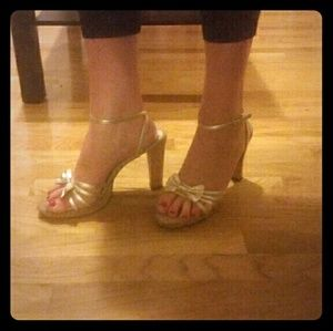 Jeffrey Campbell gold bow cork sandals