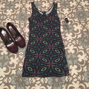 Wet Seal Dresses & Skirts - Colorful Aztec sleeveless mini dress, stretch