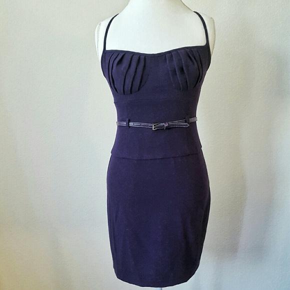 1b89f0c9 Black Halo Dresses & Skirts - Black Halo Plum Pencil Bustier Belted Dress