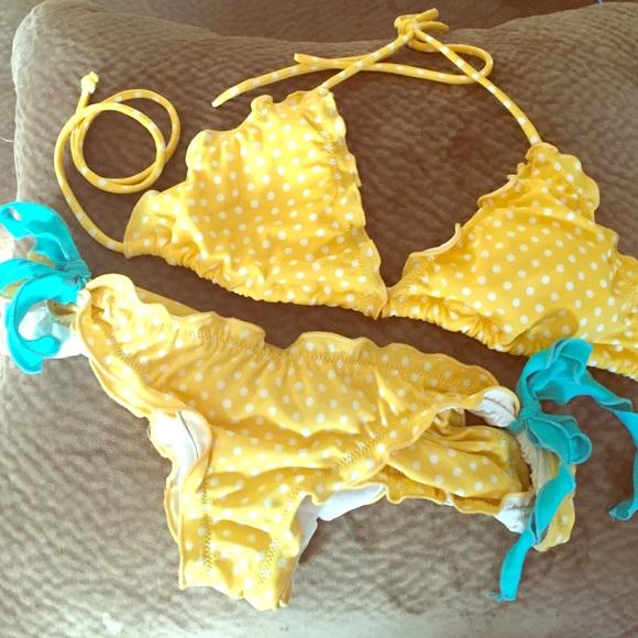 Victoria's Secret yellow polka dot bikini
