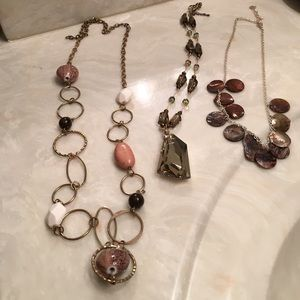 Assorted brown necklaces