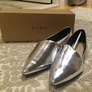 Zara silver flats