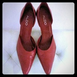 Red Leather Aldo Pumps