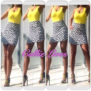 Callie Lives Dresses & Skirts - Black White Skater Mini Skirt Chevron Tulip A-Line