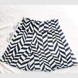 Skater Mini Skirt Abstract Chevron Tulip A-Line 