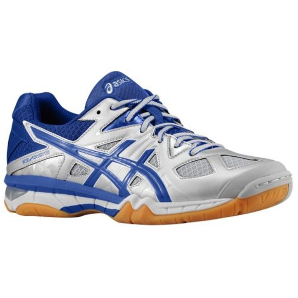 blue and white volleyball asics
