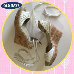 Lace up cream wedges sz 7 OLd Navy