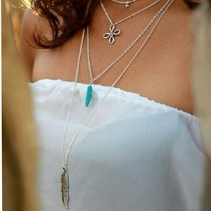 ♠Silver 4 layer boho necklace w/feather
