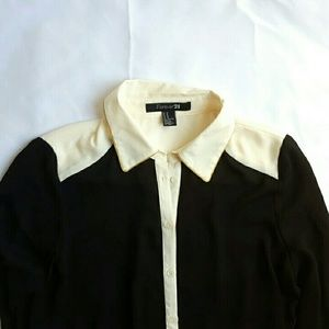 Forever 21 Tops - F21 Black and White Sheer Long Sleeve Blouse
