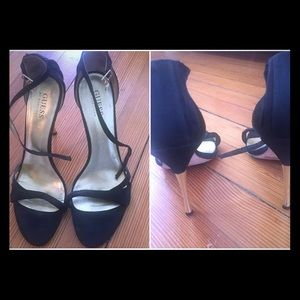 GUESS black + gold heels