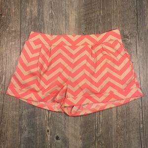 Soulmates Pants - Coral and tan chevron pocketed shorts