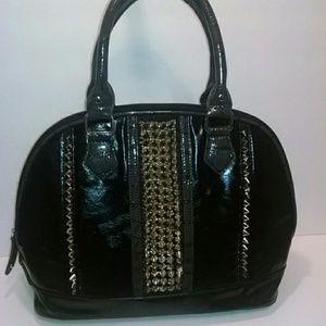 Handbags - Unique black leather satchel with silver spikes