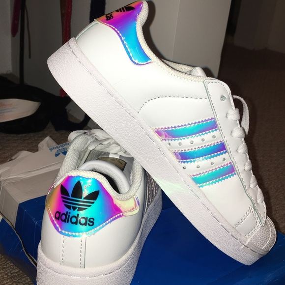huge selection of 1d2f5 66799 Holographic Adidas Superstars NWT