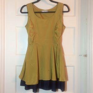 Pea Green & Navy Blue Mini Dress