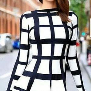 2017 Style black and White mini dress