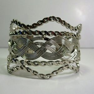 Jewelry - Silver tone woven adjustable cuff bracelet