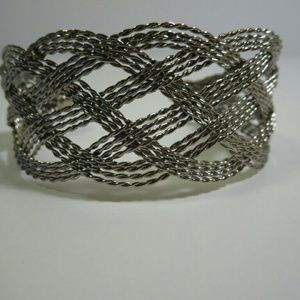 Jewelry - Woven silver tone adjustable cuff bracelet