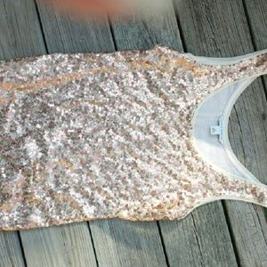 Womens sequined gold tank