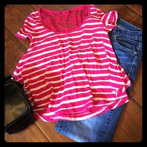 Tops - Hot pink and white striped crop top with lace