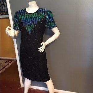 Vintage Stenay silk beaded dress.