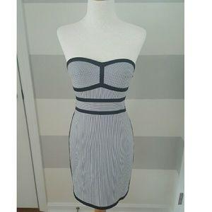 Bebe Black and White Striped Strapless Dress