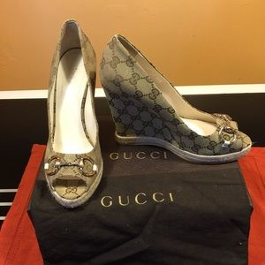 Gucci Shoes - Brand new Gucci logo wedges!
