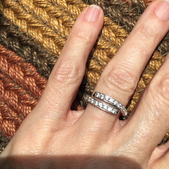 STERLING Stamp SILVER CZ BYPASS RING NWT