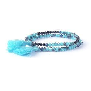 Boho tassel crystal beads layering bracelet