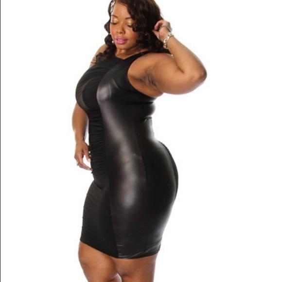 Head2Toez Apparel Dresses | Plus Size Faux Leather Sides Bodycon ...
