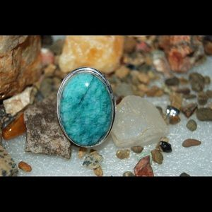 Faceted Blue Green Amazonite Ring Size 9