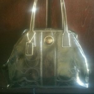 Coach Handbags - **Like New** COACH Kiss Lock Monogram Satchel