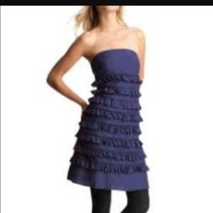 GAP Dresses & Skirts - Navy blue strapless silk ruffled dress