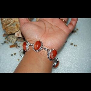 "Marble Agate Statement Bracelet 7"" - 8"""