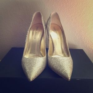Gold blinking heels!! Wore once with box and bag!