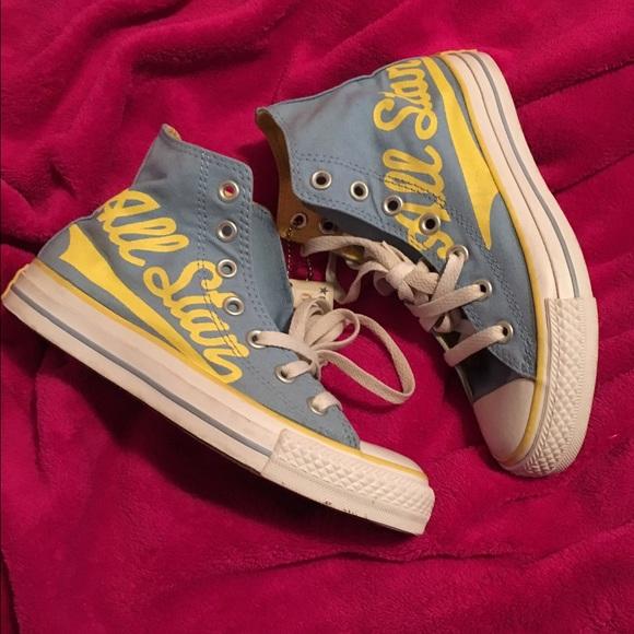 Converse Shoes Baby Blue Yellow Chucks Poshmark