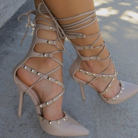 HOUR SALE   Nude High Heels Ankle Strap Boutique   Colors     Mr  Skin
